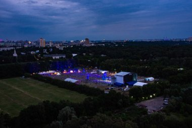 KIEV, UKRAINE - JULY 04, 2018: Atlas Weekend Festival in National Expocenter view from the hight. Aerial view of main stage Atlas Weekend 2018