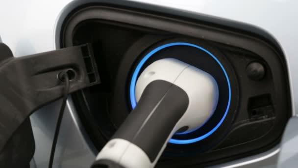 Elektrische Auto Oplader Aangesloten Een Elektrisch Voertuig