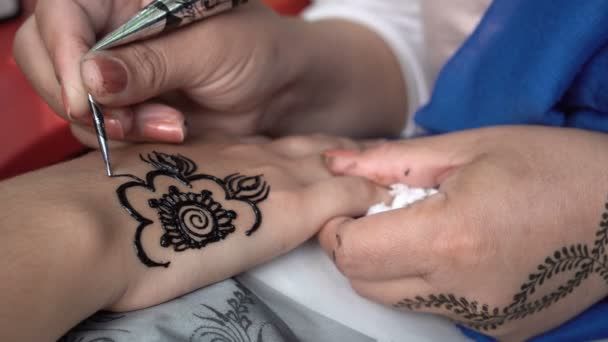 Woman Painting Black Henna Tattoo Girl Hand Stock Video C Belish