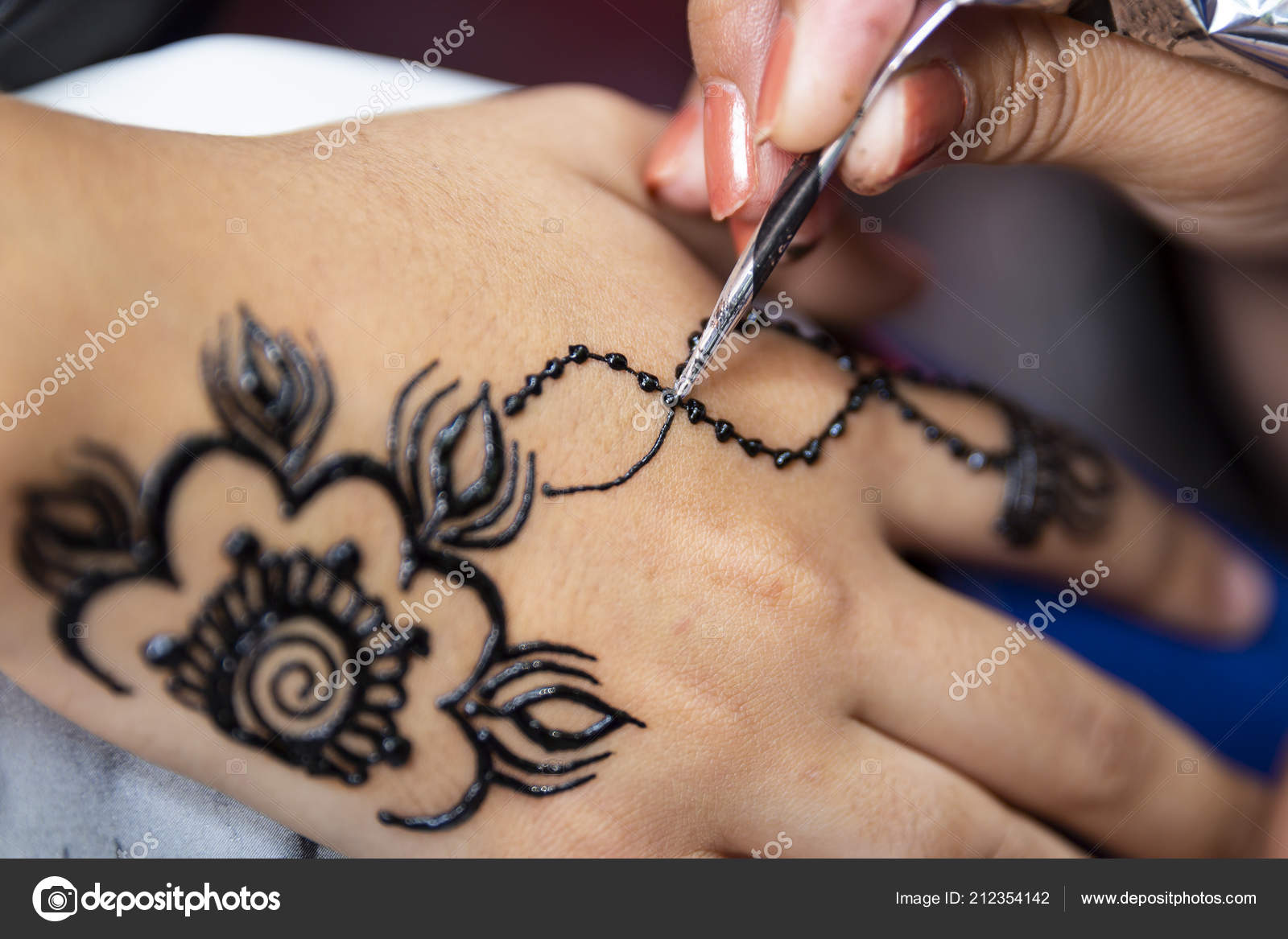 Woman Painting Black Henna Tattoo Girl Hand Stock Photo C Belish