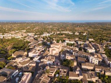 Aerial: S'Alqueria Blanca town in Mallorca, Spain