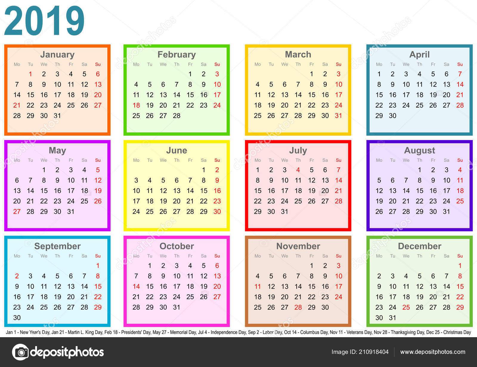 Calendario Del 2019.Calendario 2019 Cada Mes Una Plaza Diferente Color Marcas Los