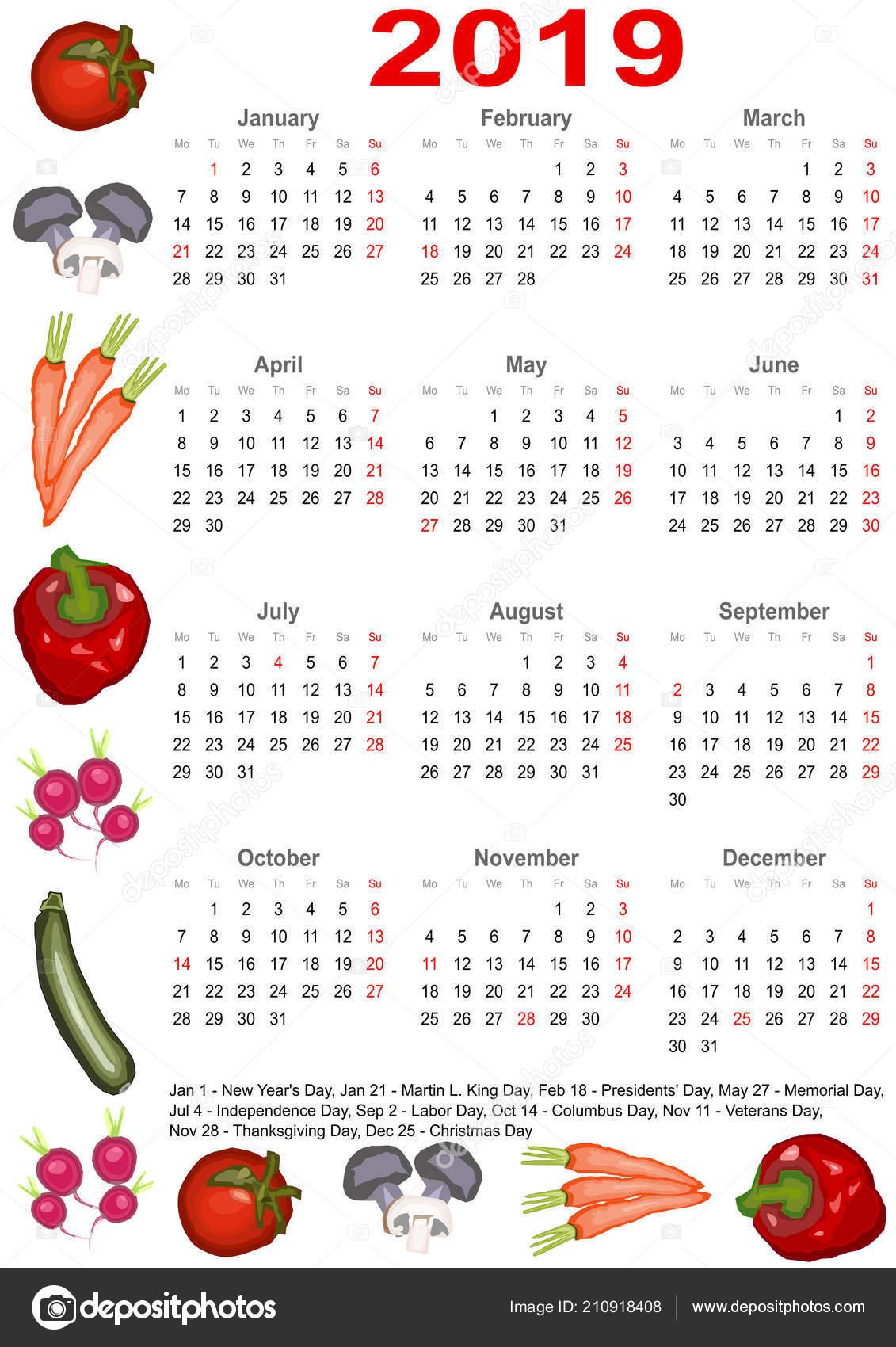 Calendar Illustration List : Calendar markings list public holidays usa edged