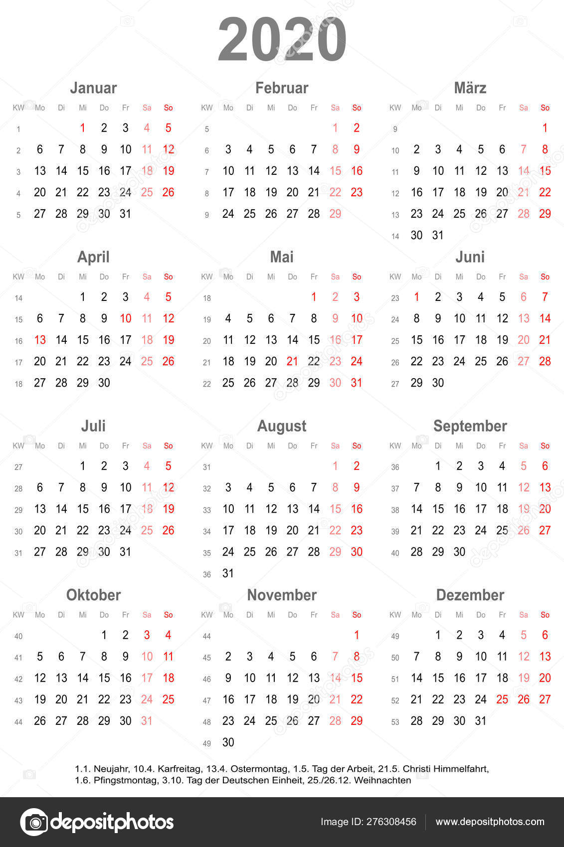 Calendrier 2020 Avec Jour Ferie.Calendrier Simple 2020 Avec Jours Feries Pour L Allemagne