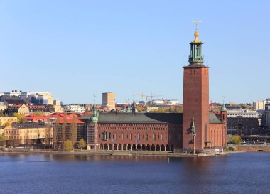 Stockholm, Sweden - May 4, 2014: Exterior view from the south side of the Stockholm city hall.