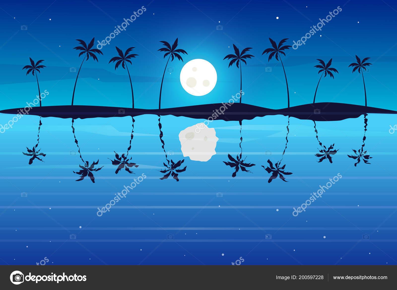 Paesaggio Notte Tropicale Vista Sul Mare Colorato Avventure Viaggi