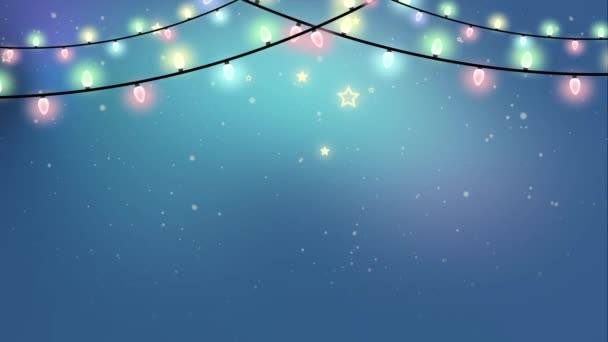 Christmas Looped Garland Lights Animation On A Snowy Winter Background