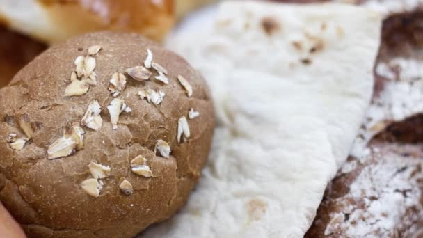 closeup view, fresh baked bread at the bakery