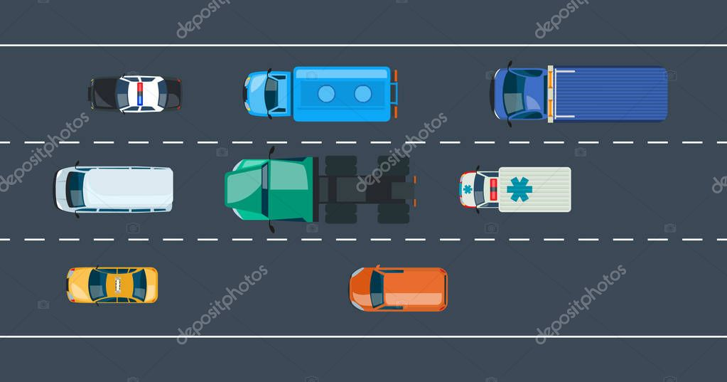 Concept of automobile traffic around the city and highway, motorway.