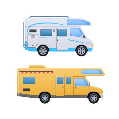 Vans, vehicle trailer, camping, family traveling by car, mobile homes.