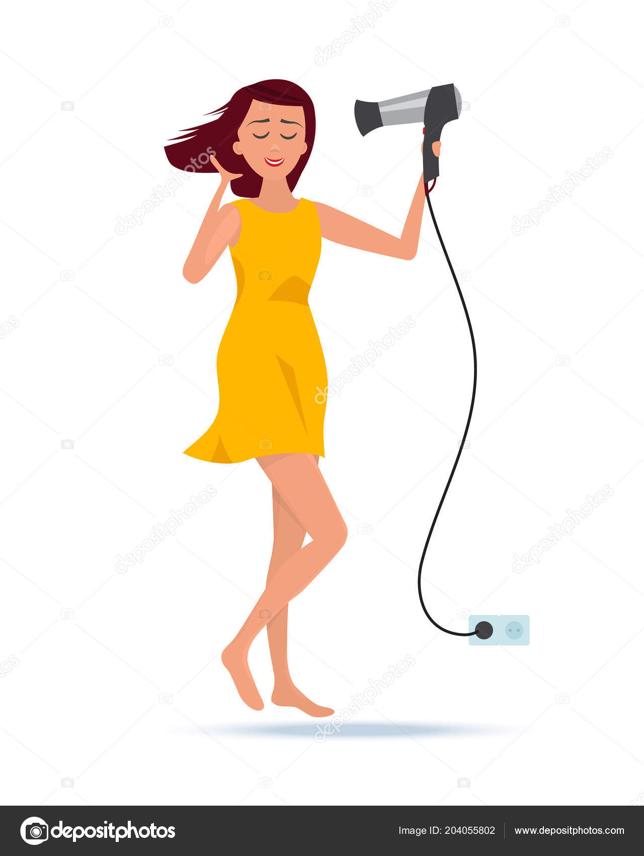 Girl after taking shower, stands with hair dryer in hands. — Stock ...