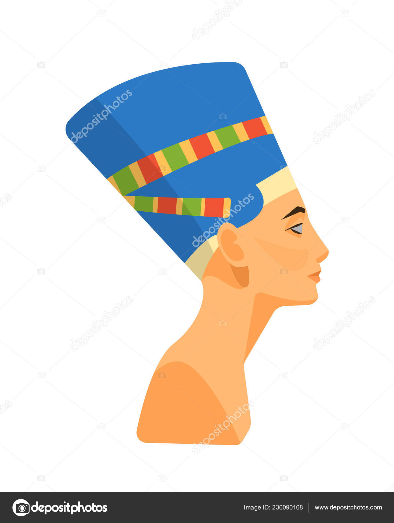 Bust, head of the ancient Egyptian queen Nefertiti  — Stock Vector