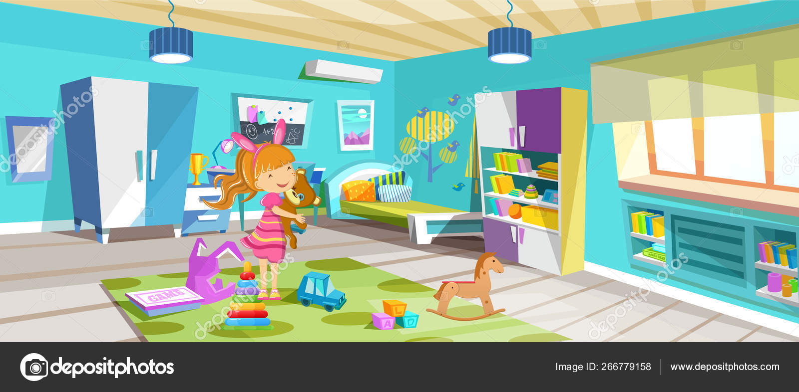 Cozy, bright room, childrens bedroom with furniture, toys ...