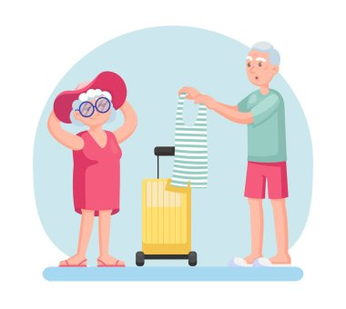 Couple old senior man and woman going on a trip, packing their bags. Grey haired elderly people together cartoon vector illustration icon