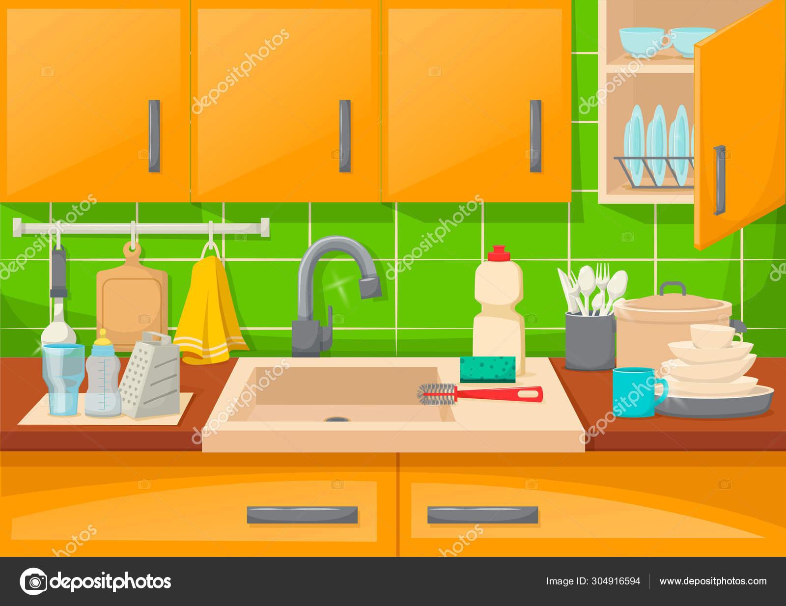Vektorgrafiken Messy Kitchen Sink Vektorbilder Messy Kitchen Sink Depositphotos