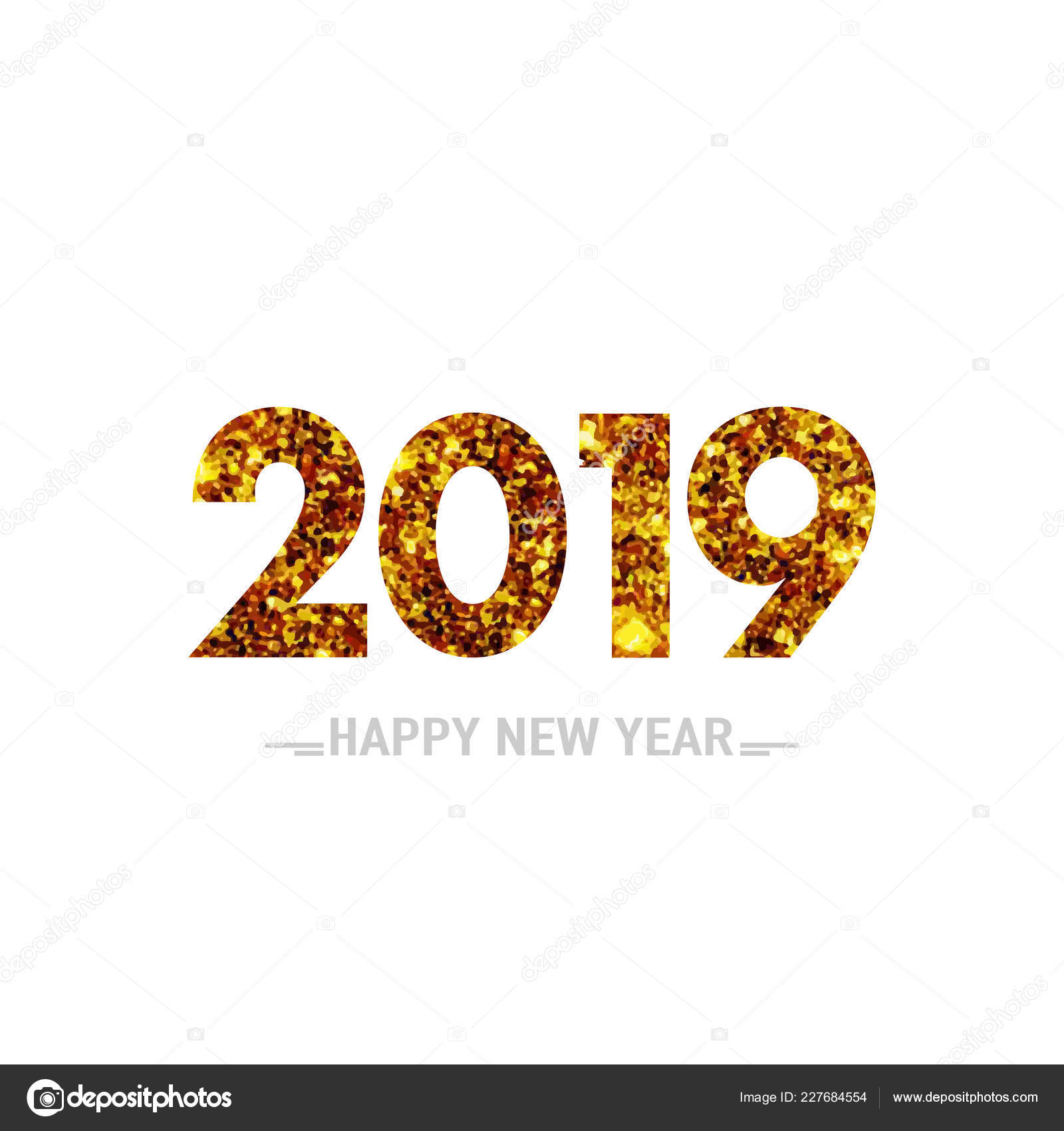 illustration happy new year 2019 gold greeting card design template