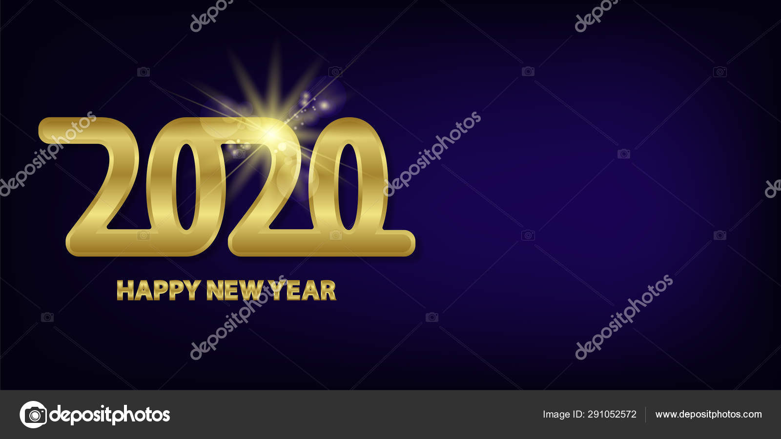 Happy new year 2020 design  Gold card on golden background