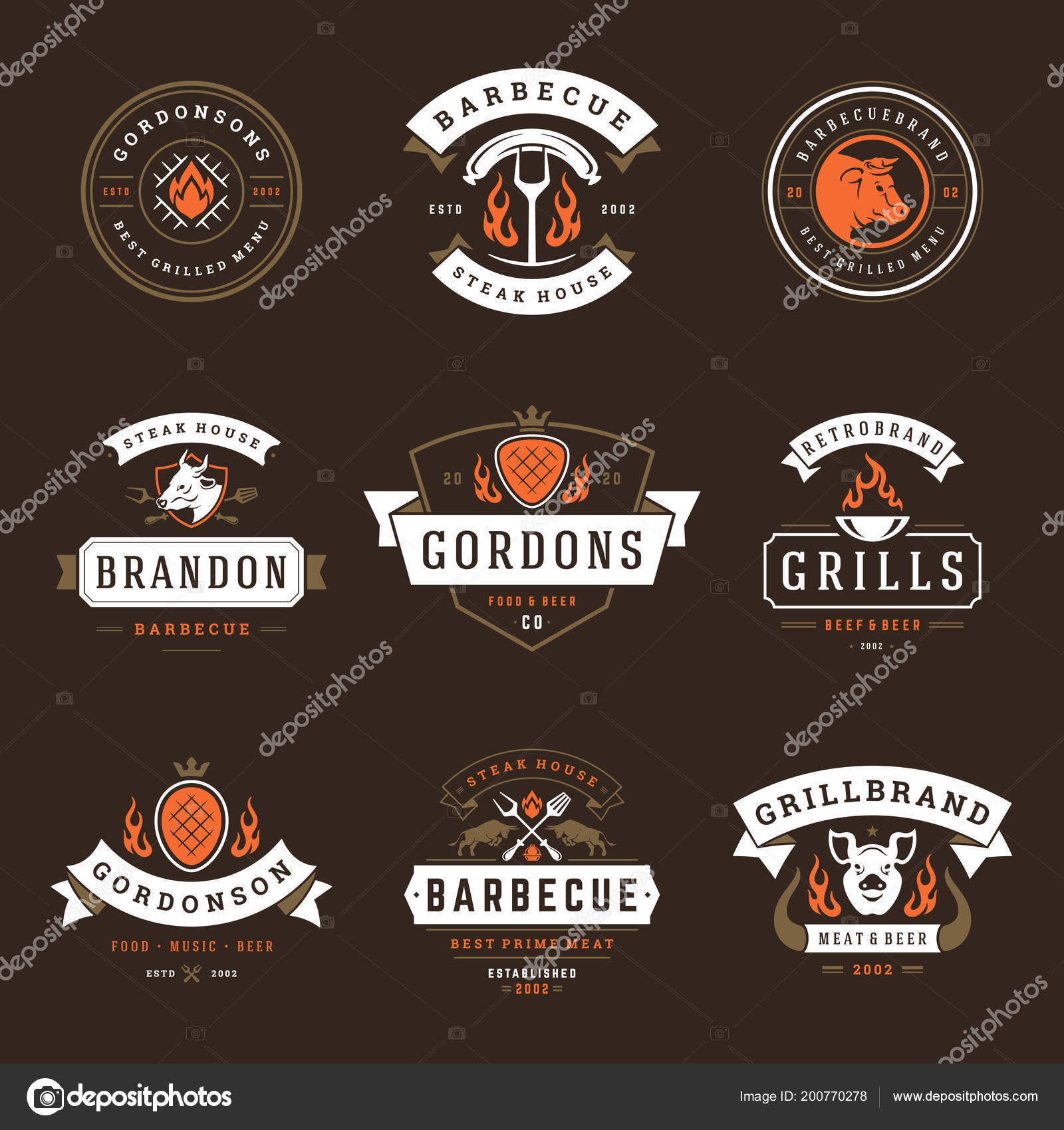 Grill Restaurant Logos Badges Set Vector Illustration