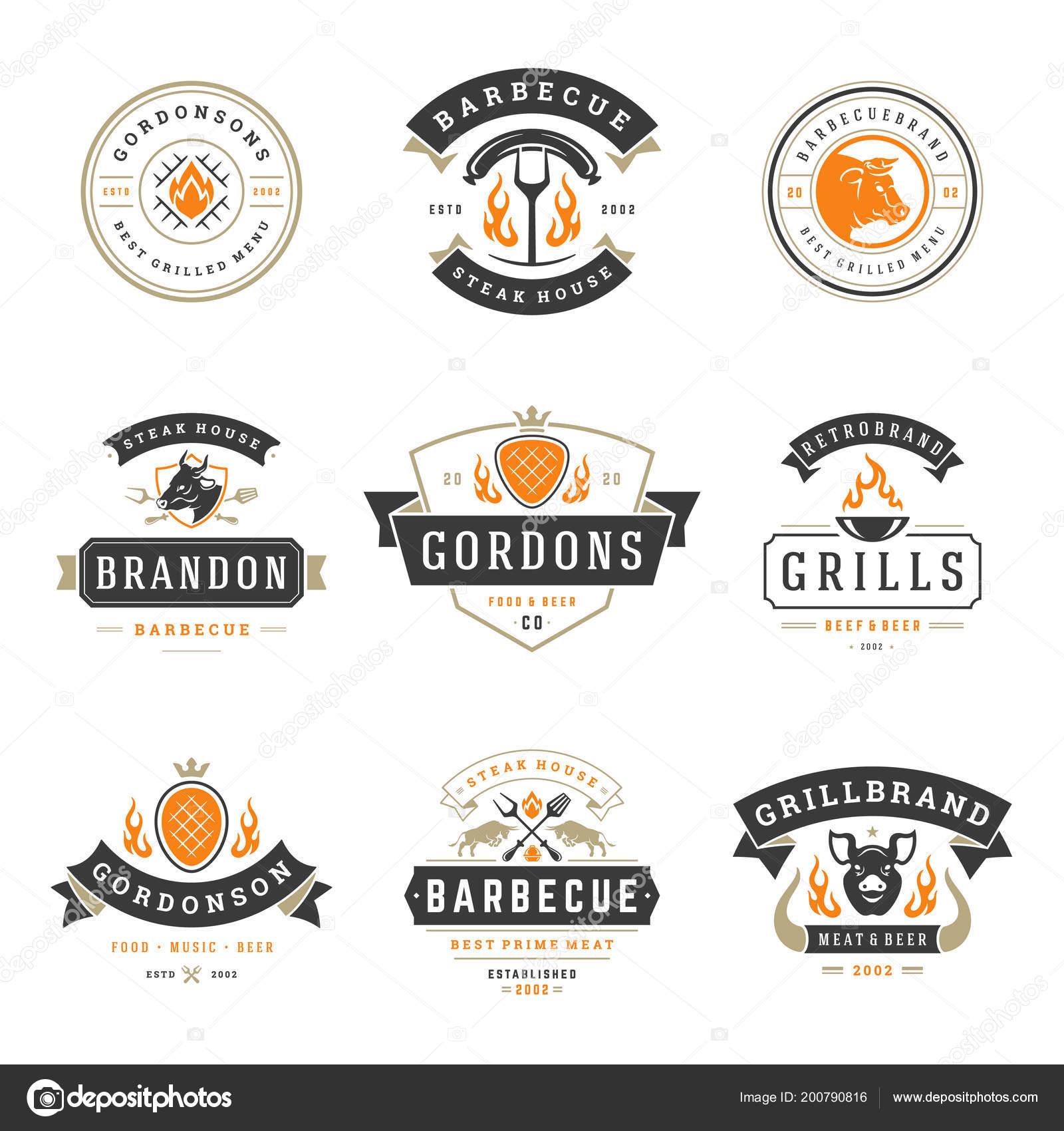 Grill Restaurant Logos And Badges Set Vector Illustration