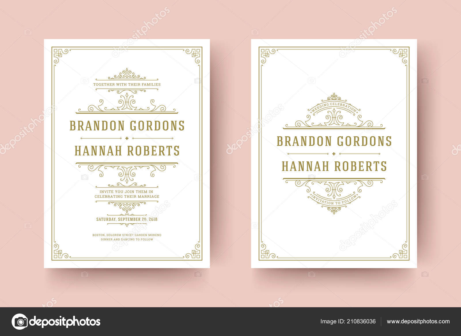 wedding save the date invitation cards flourishes ornaments stock