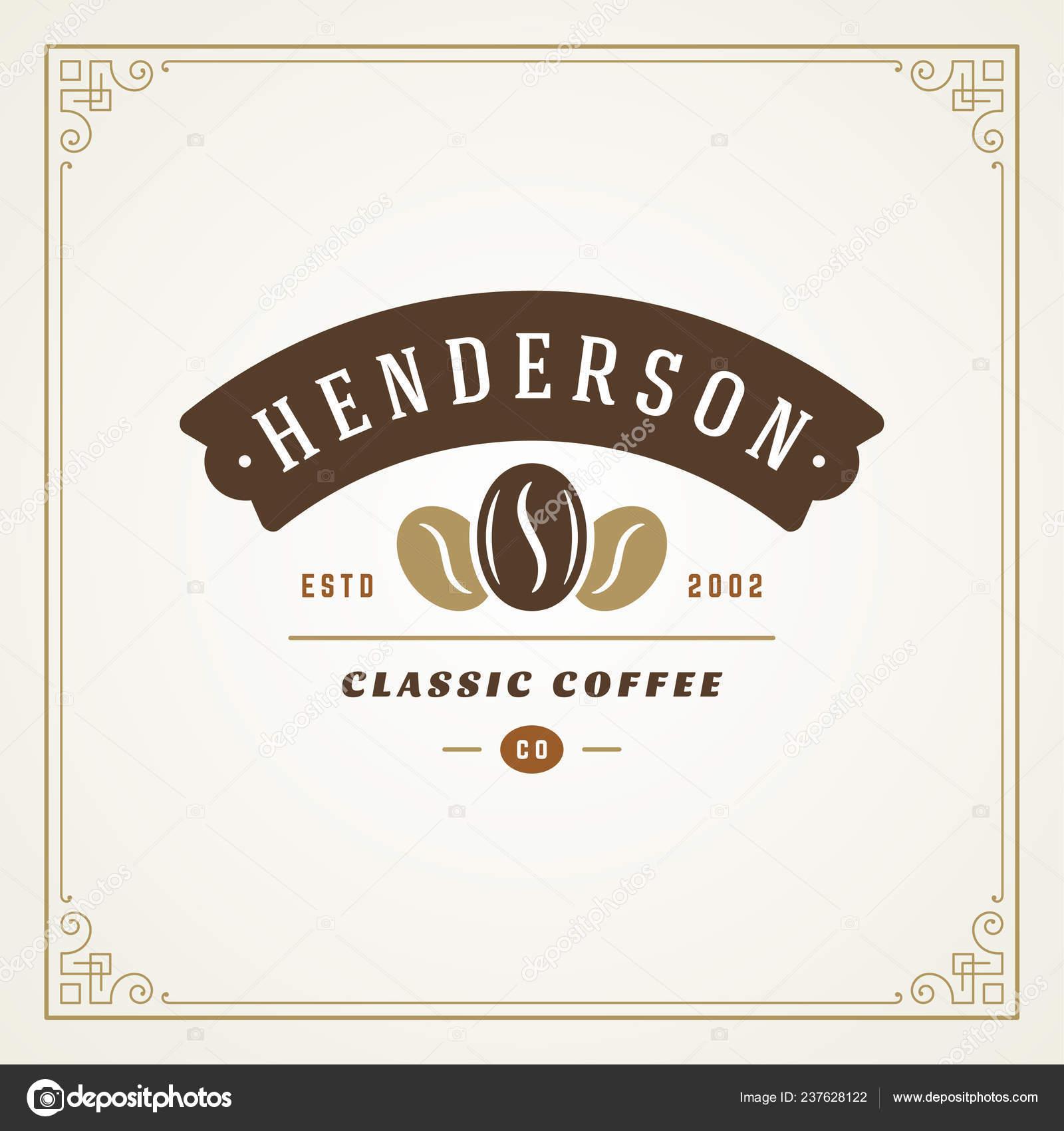 Coffee Shop Logo Design Template Vector Illustration Bean Silhouette Good Stock Vector C Provectors 237628122