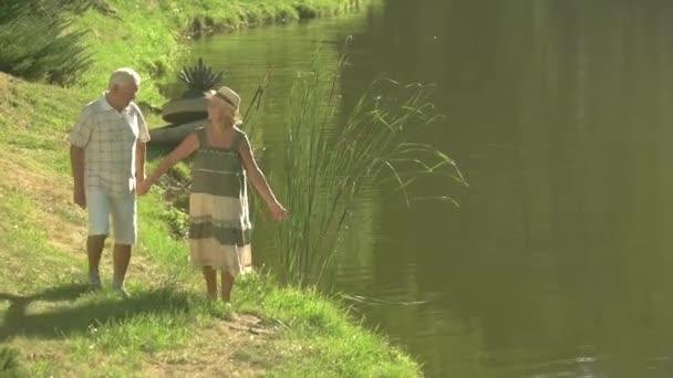 Starší pár, kteří požívají přírody u vody