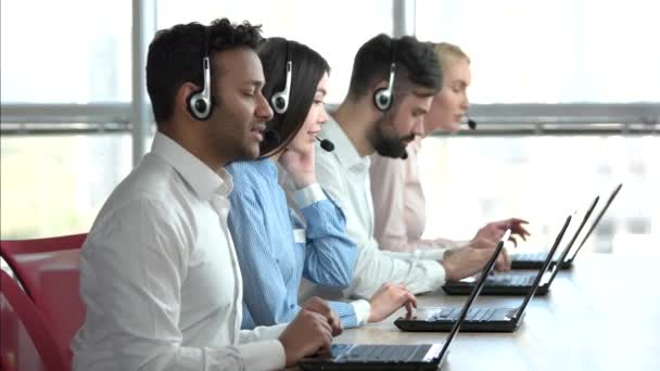 Online technical support workers, windows background.