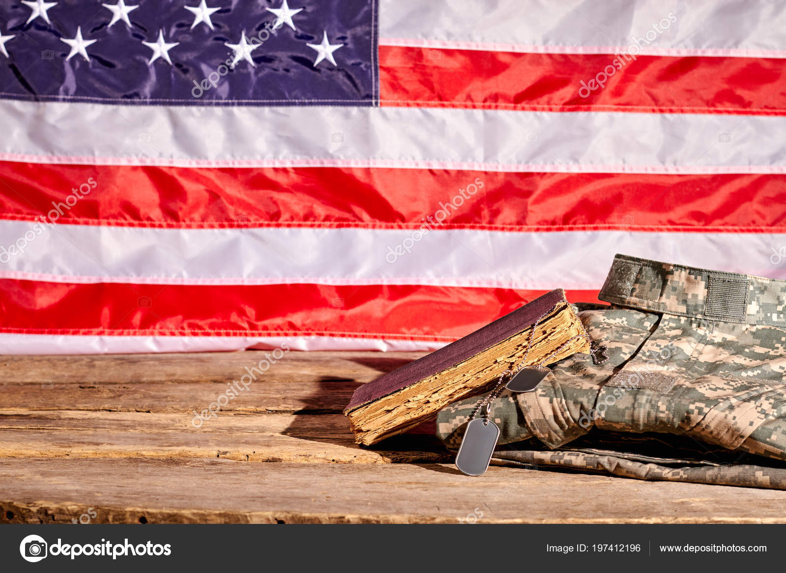 227779c8960b Soldiers accessories in american flag background. — Stock Photo ...