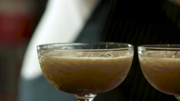 Glasses of thick alcohol cocktails, close up.