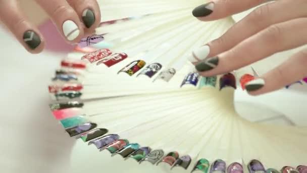 Nail Art Wheel In Motion Female Hands Stock Video Denisfilm