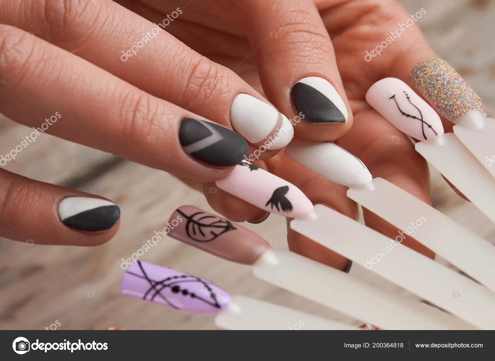 Nail Art Samples In Female Hands Stock Photo Denisfilm 200364818