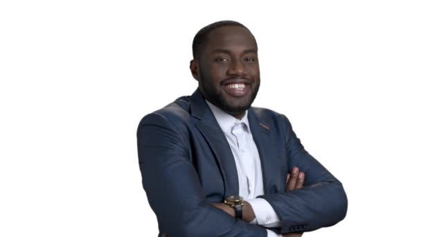 Veselý šťastný černé podnikatel s překřížením rukou