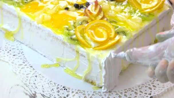 Cake Decoration With Pastry Syringe Stockvideo C Denisfilm 206463858