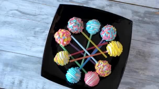Sada barevný dort pops, pohled shora