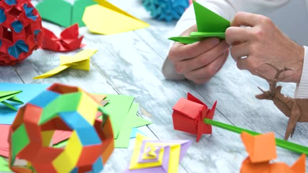 Making Green Origami Paper Crane Close Up Stock Video Denisfilm