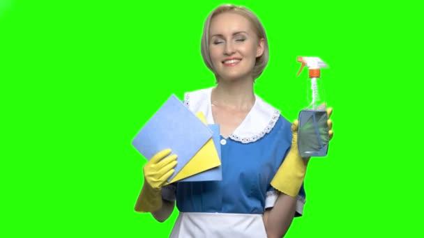 Porträt einer Hausfrau mit Waschmittelspray und Faserservietten.