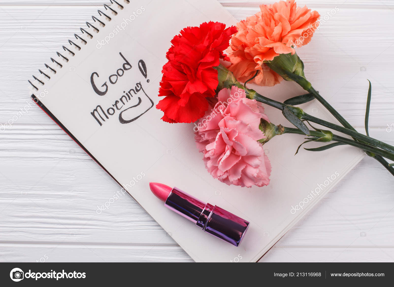 Carnation Flowers Good Morning Wish And Lipstic Stock Photo