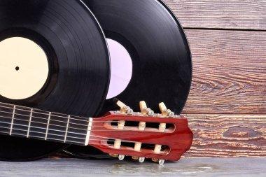Set of vintage musical instruments.