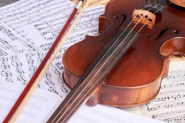 Vintage violin on musical notes.