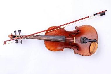 Vintage violin over white background.