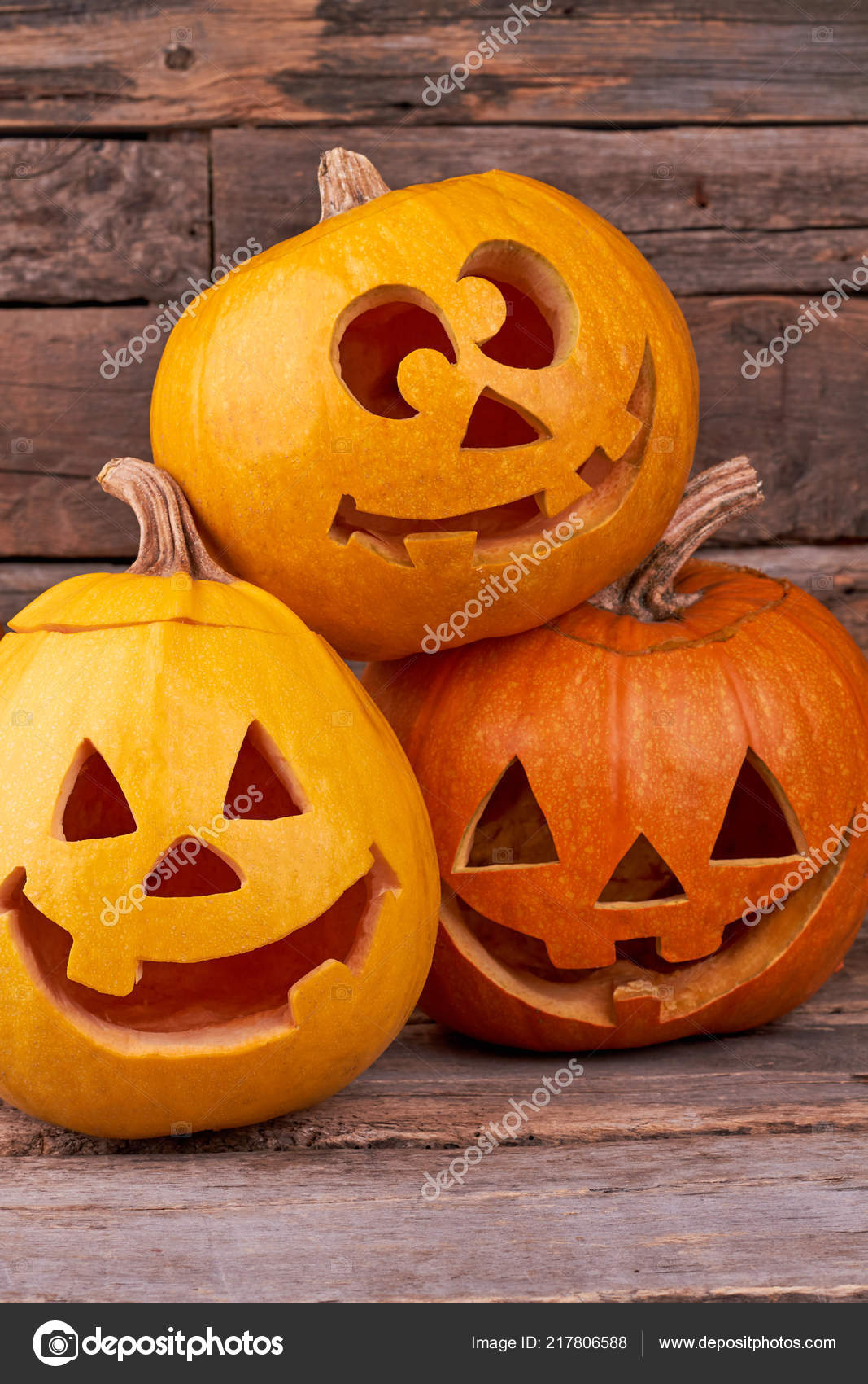 Pictures Funny Halloween Three Funny Halloween Pumpkins Stock Photo C Denisfilm 217806588