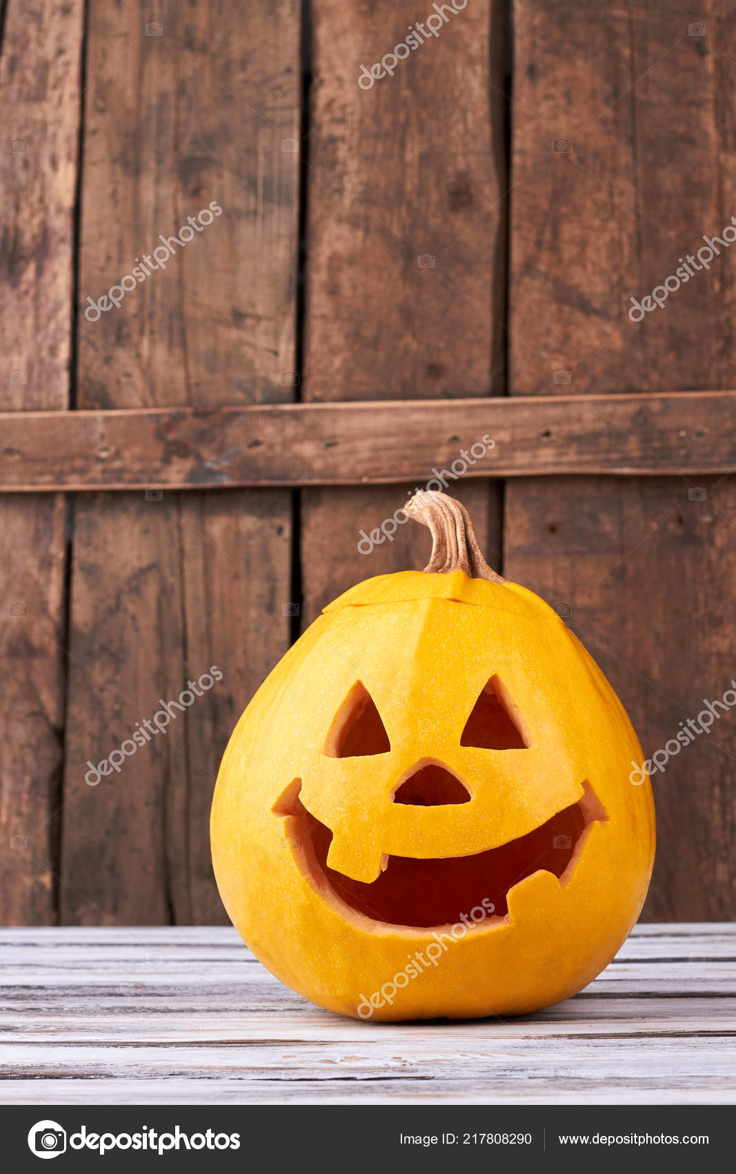 Funny Halloween Pumpkin On Wood Background Stock Photo C Denisfilm 217808290