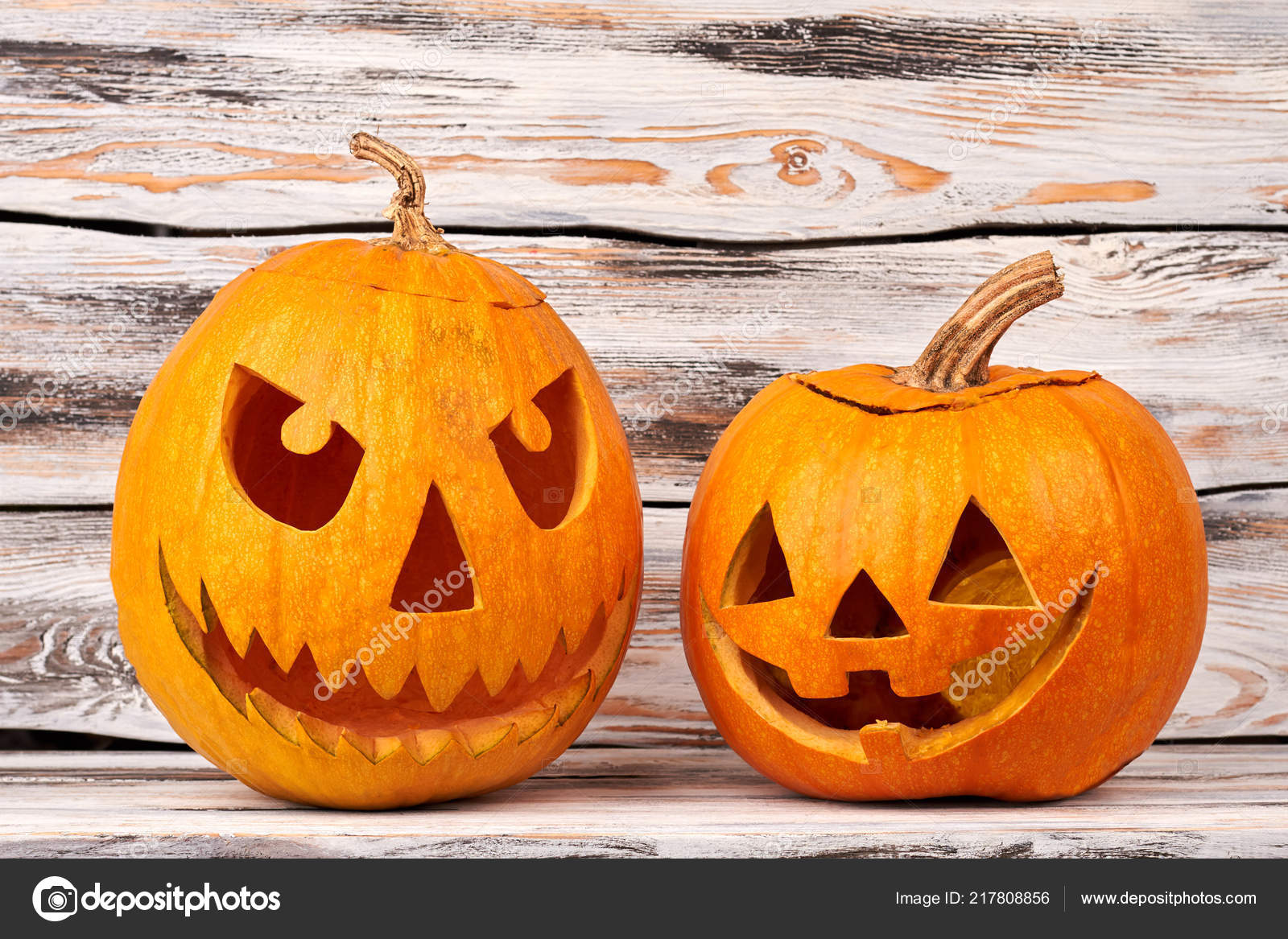 Easy Pumpkin Faces Scary Halloween Scary Pumpkins On Wooden Background Stock Photo C Denisfilm 217808856