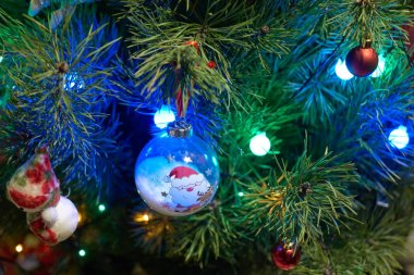 Close up of Christmas decorations hanging on tree.