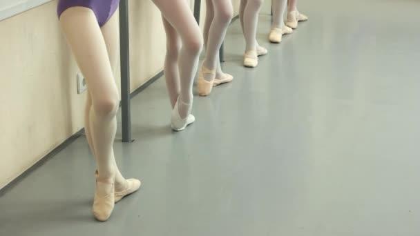 Group of ballerinas having practice at studio.