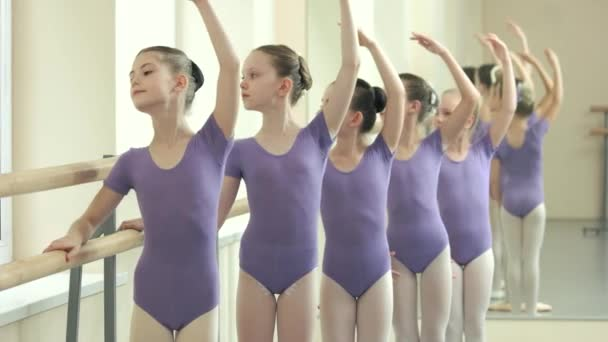 Group of graceful ballerinas having practice at class.
