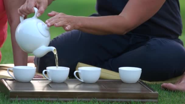 Detailní záběr žena nalévání čaje v cups venku