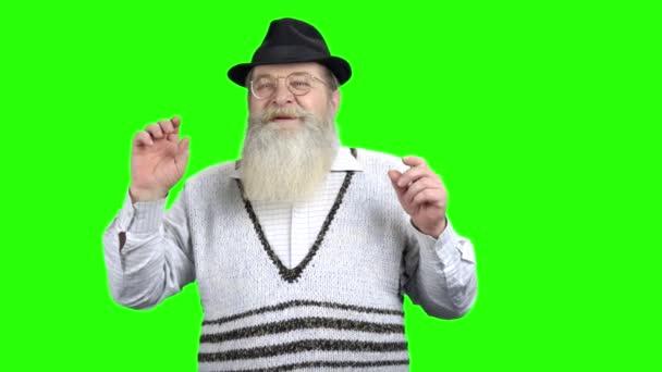 Old bearded man touching virtual screen.