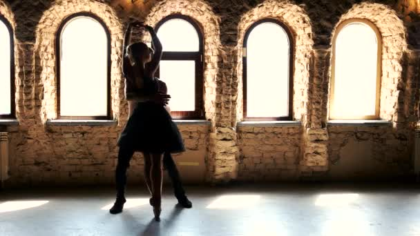 Contemporary style ballet dancers dancing at studio.