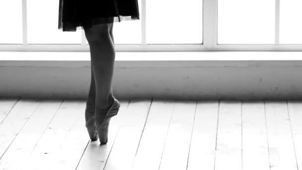 Baletka nohy na sobě, taneční boty.